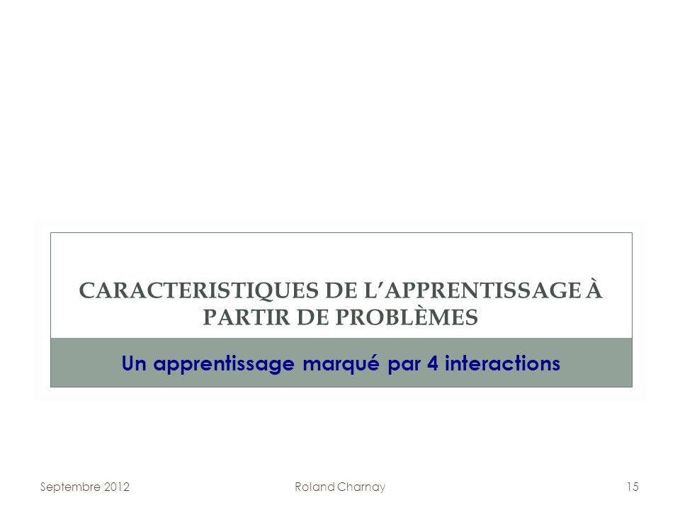 Septembre 2012Roland Charnay15 CARACTERISTIQUES DE LAPPRENTISSAGE À PARTIR DE PROBLÈMES Un apprentissage marqué par 4 interactions