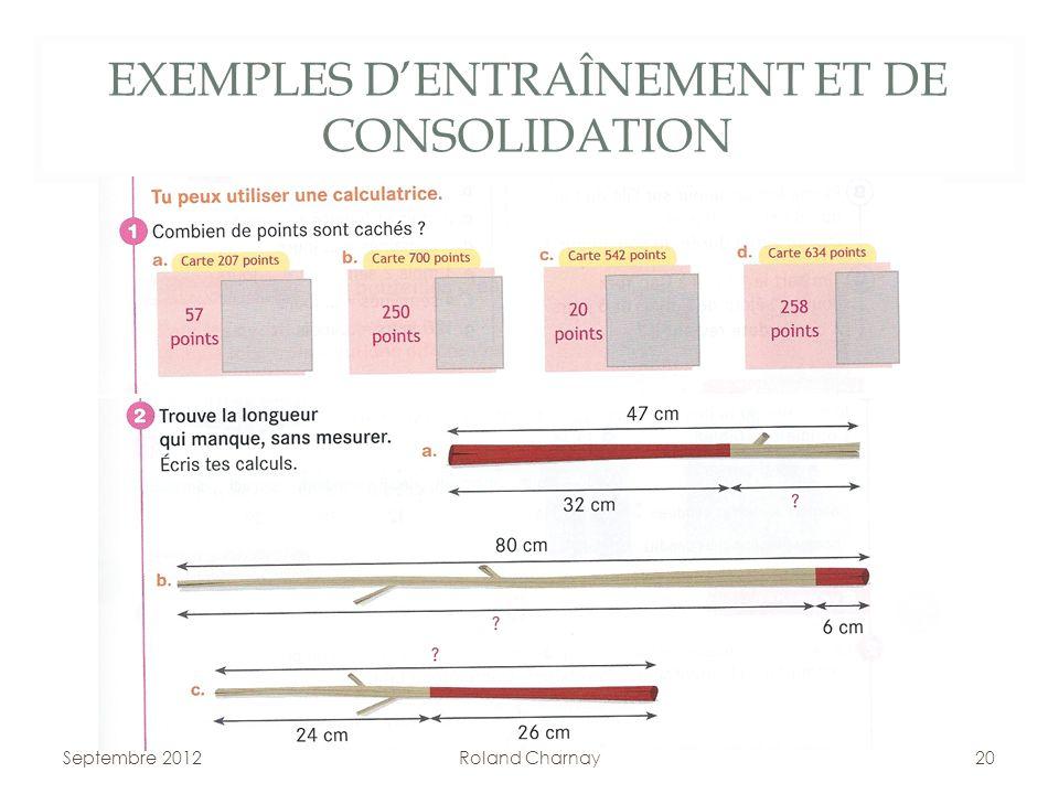 EXEMPLES DENTRAÎNEMENT ET DE CONSOLIDATION Septembre 2012Roland Charnay20