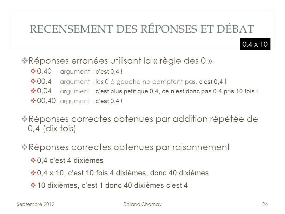 RECENSEMENT DES RÉPONSES ET DÉBAT Réponses erronées utilisant la « règle des 0 » 0,40 argument : cest 0,4 ! 00,4 argument : les 0 à gauche ne comptent