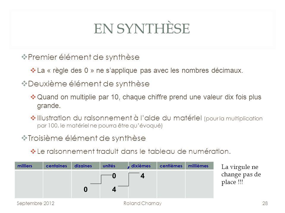 EN SYNTHÈSE Premier élément de synthèse La « règle des 0 » ne sapplique pas avec les nombres décimaux. Deuxième élément de synthèse Quand on multiplie