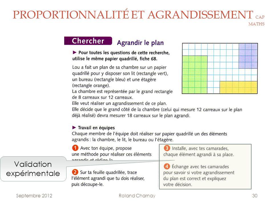 Roland Charnay30 PROPORTIONNALITÉ ET AGRANDISSEMENT CAP MATHS Validation expérimentale Septembre 2012