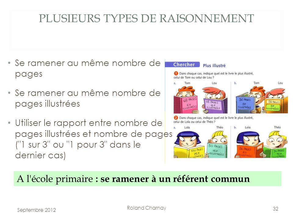Roland Charnay PLUSIEURS TYPES DE RAISONNEMENT A l'école primaire : se ramener à un référent commun 32 Se ramener au même nombre de pages Se ramener a