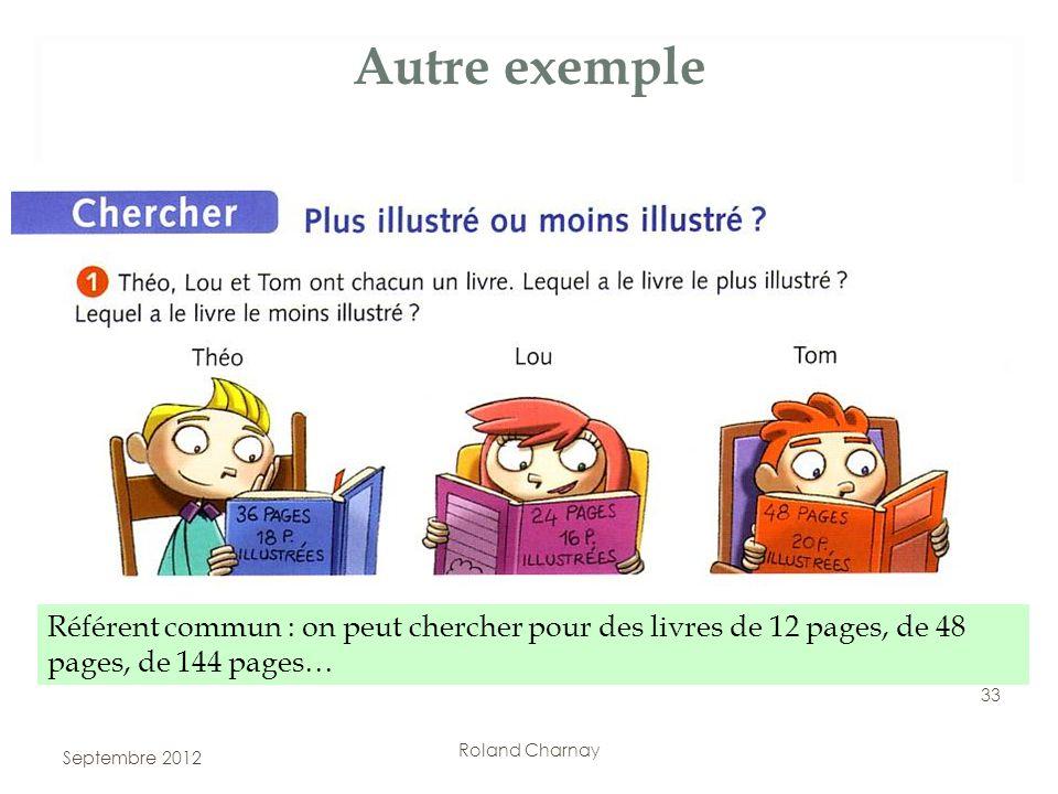 Roland Charnay Autre exemple Référent commun : on peut chercher pour des livres de 12 pages, de 48 pages, de 144 pages… 33 Septembre 2012