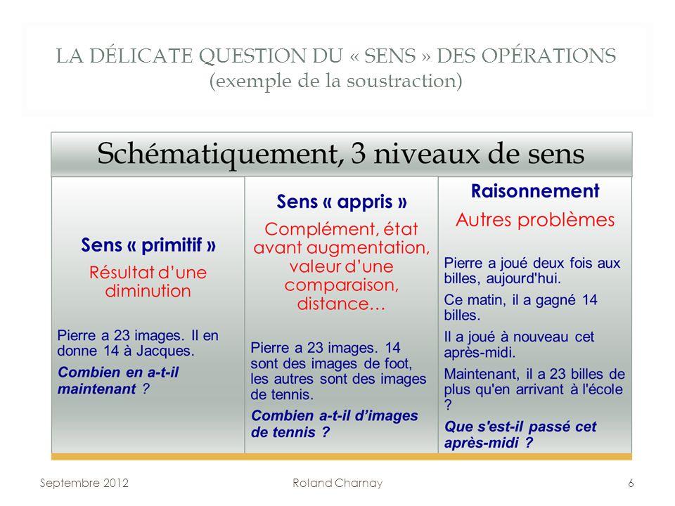 LA DÉLICATE QUESTION DU « SENS » DES OPÉRATIONS (exemple de la soustraction) Septembre 2012Roland Charnay6