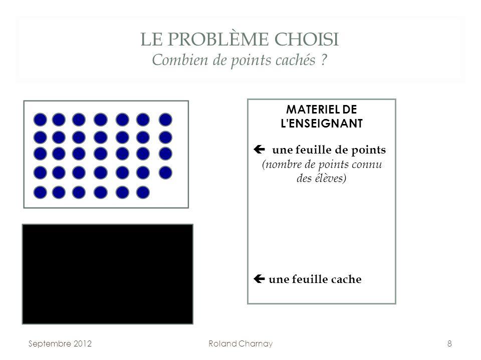 LE PROBLÈME CHOISI Combien de points cachés ? Septembre 2012Roland Charnay8 MATERIEL DE L'ENSEIGNANT une feuille de points (nombre de points connu des