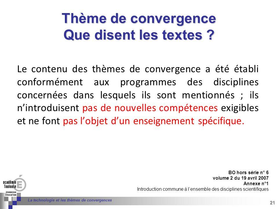 21 Séminaire « Définition de Produits » : méthodologie de définition dune pièce GREC INITIALES 21 La technologie et les thèmes de convergences Le cont