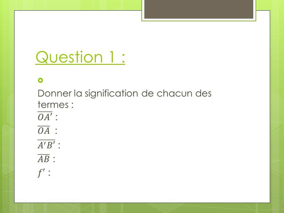 Question 1 : Correction