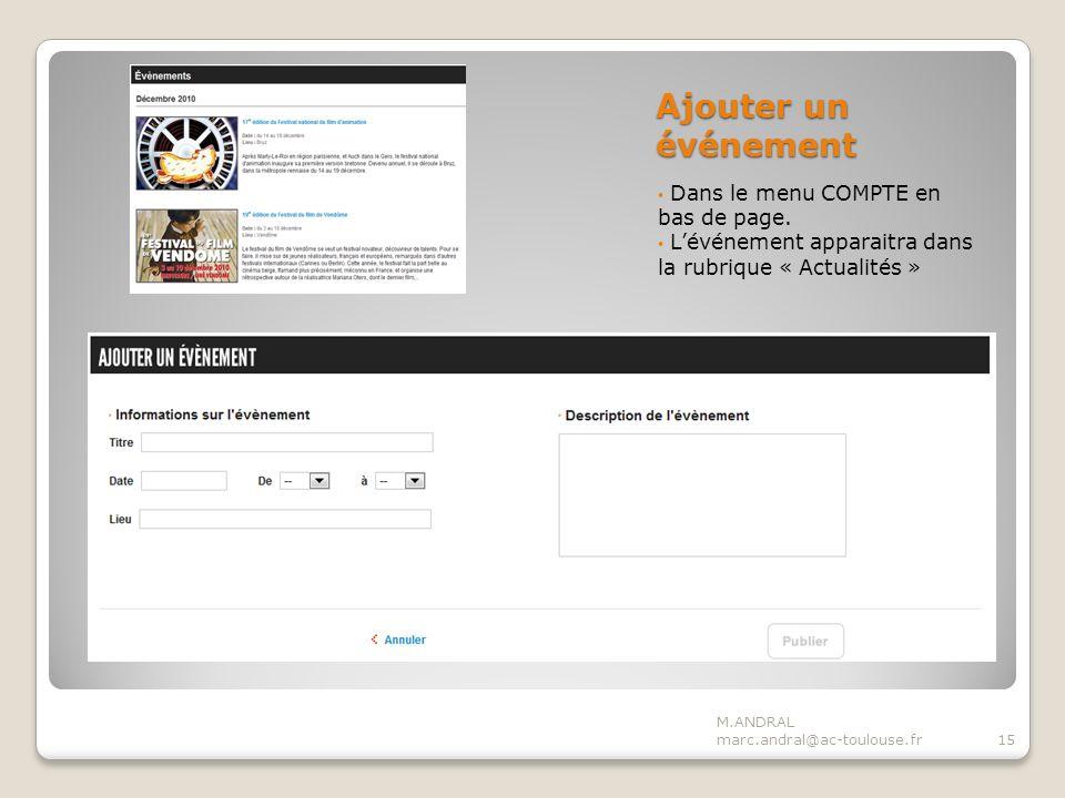 Ajouter un événement Dans le menu COMPTE en bas de page.