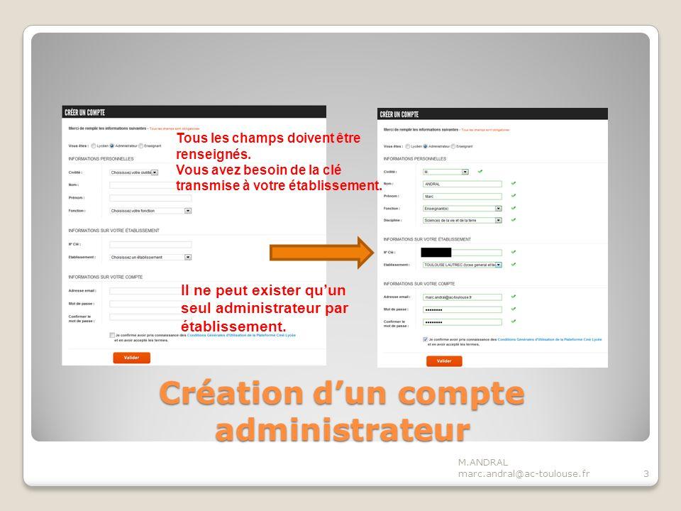 Création dun compte administrateur M.ANDRAL marc.andral@ac-toulouse.fr3 Tous les champs doivent être renseignés.