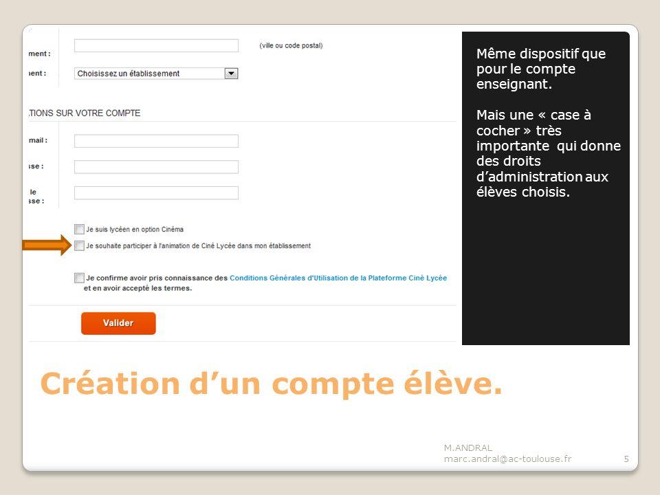 Connexion en élève administrateur M.ANDRAL marc.andral@ac-toulouse.fr16