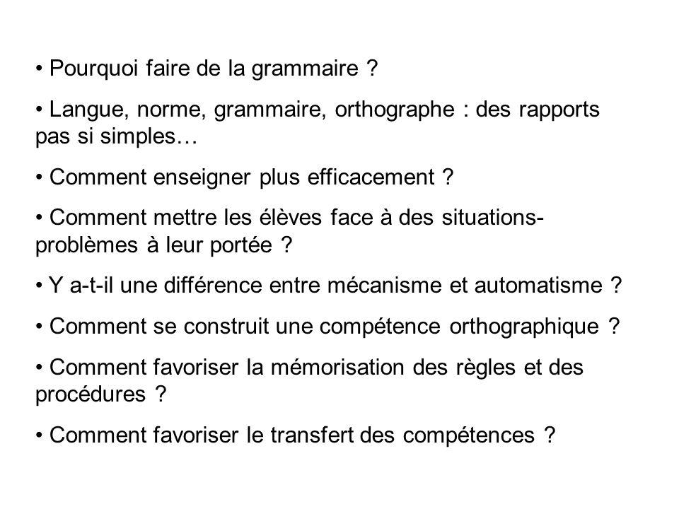 Pourquoi faire de la grammaire ? Langue, norme, grammaire, orthographe : des rapports pas si simples… Comment enseigner plus efficacement ? Comment me