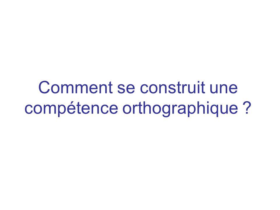 Comment se construit une compétence orthographique ?