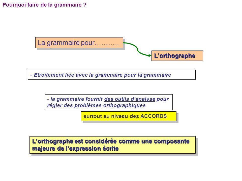 Pourquoi faire de la grammaire ? La grammaire pour……….. Lorthographe - Etroitement liée avec la grammaire pour la grammaire - la grammaire fournit des