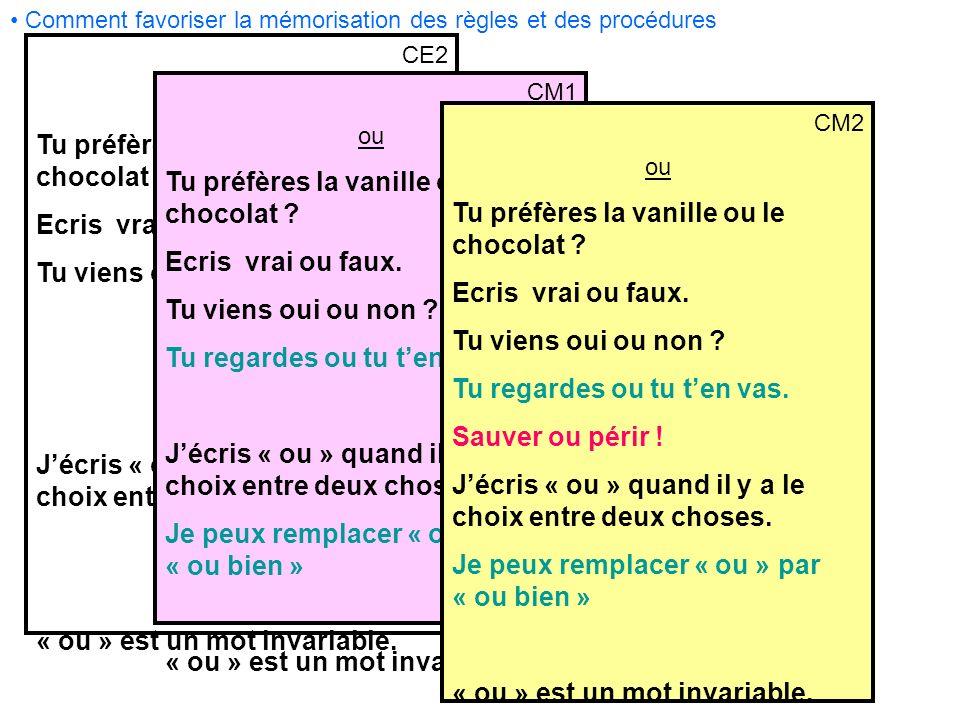 Comment favoriser la mémorisation des règles et des procédures CE2 ou Tu préfères la vanille ou le chocolat ? Ecris vrai ou faux. Tu viens oui ou non