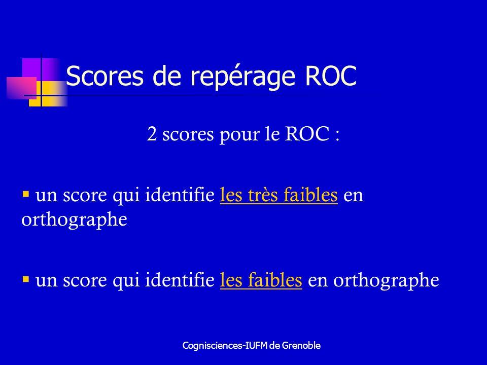 Cognisciences-IUFM de Grenoble Scores de repérage ROC 2 scores pour le ROC : un score qui identifie les très faibles en orthographe un score qui ident