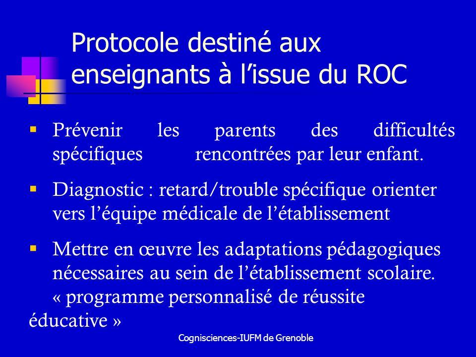 Cognisciences-IUFM de Grenoble Protocole destiné aux enseignants à lissue du ROC Prévenir les parents des difficultés spécifiques rencontrées par leur