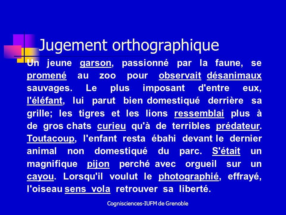Cognisciences-IUFM de Grenoble Jugement orthographique Un jeune garson, passionné par la faune, se promené au zoo pour observait désanimaux sauvages.
