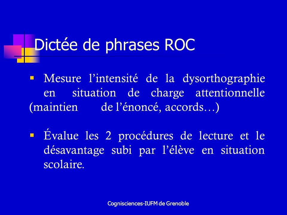 Cognisciences-IUFM de Grenoble Scores de repérage ROC 2 scores pour le ROC : un score qui identifie les très faibles en orthographe un score qui identifie les faibles en orthographe