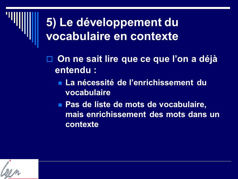 5) Le développement du vocabulaire en contexte On ne sait lire que ce que lon a déjà entendu : La nécessité de lenrichissement du vocabulaire Pas de liste de mots de vocabulaire, mais enrichissement des mots dans un contexte
