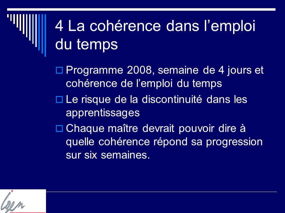 4 La cohérence dans lemploi du temps Programme 2008, semaine de 4 jours et cohérence de lemploi du temps Le risque de la discontinuité dans les apprentissages Chaque maître devrait pouvoir dire à quelle cohérence répond sa progression sur six semaines.