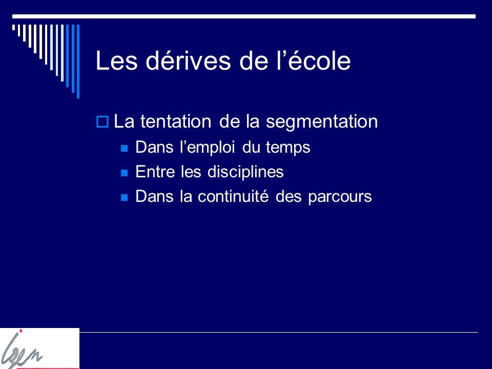 Les dérives de lécole La tentation de la segmentation Dans lemploi du temps Entre les disciplines Dans la continuité des parcours
