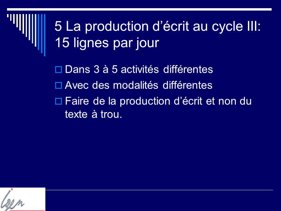 5 La production décrit au cycle III: 15 lignes par jour Dans 3 à 5 activités différentes Avec des modalités différentes Faire de la production décrit et non du texte à trou.