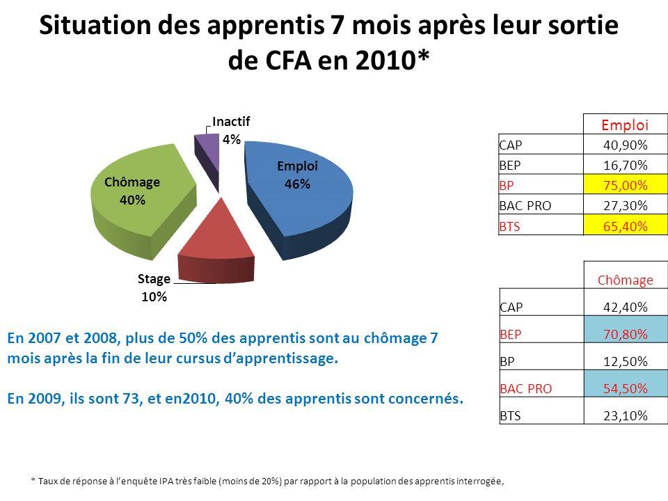 Situation des apprentis 7 mois après leur sortie de CFA en 2010* Emploi CAP40,90% BEP16,70% BP75,00% BAC PRO27,30% BTS65,40% Chômage CAP42,40% BEP70,8
