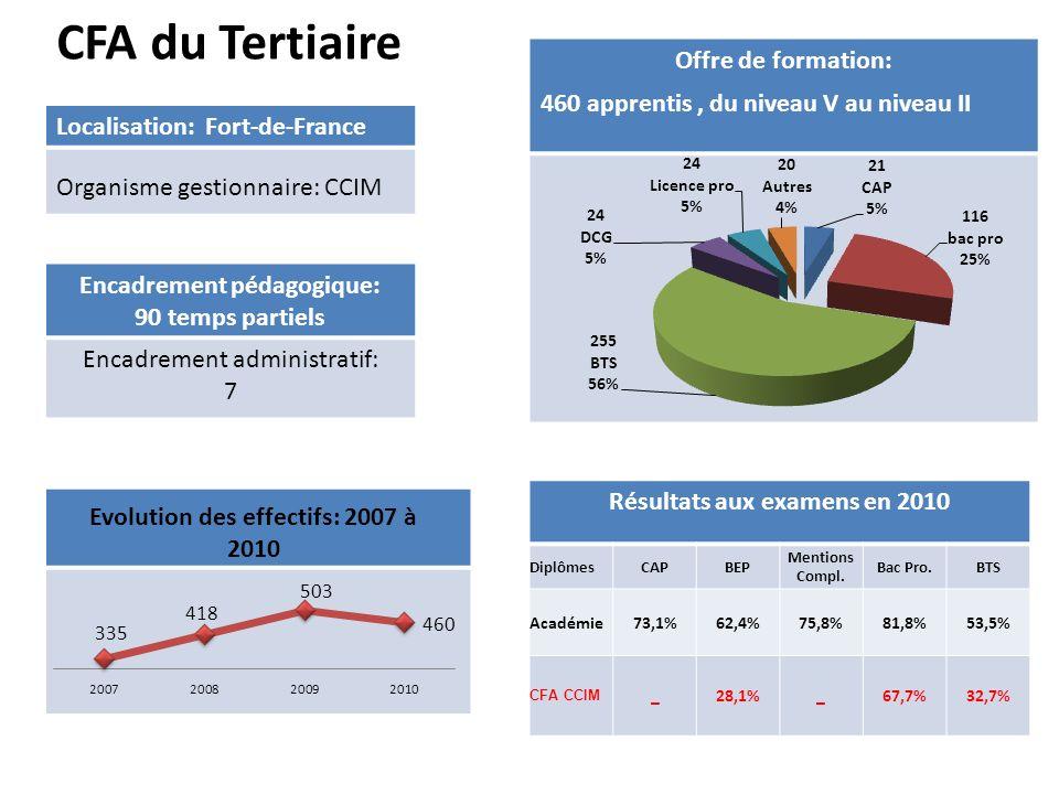 CFA du Tertiaire Encadrement pédagogique: 90 temps partiels Encadrement administratif: 7 Localisation: Fort-de-France Organisme gestionnaire: CCIM Off