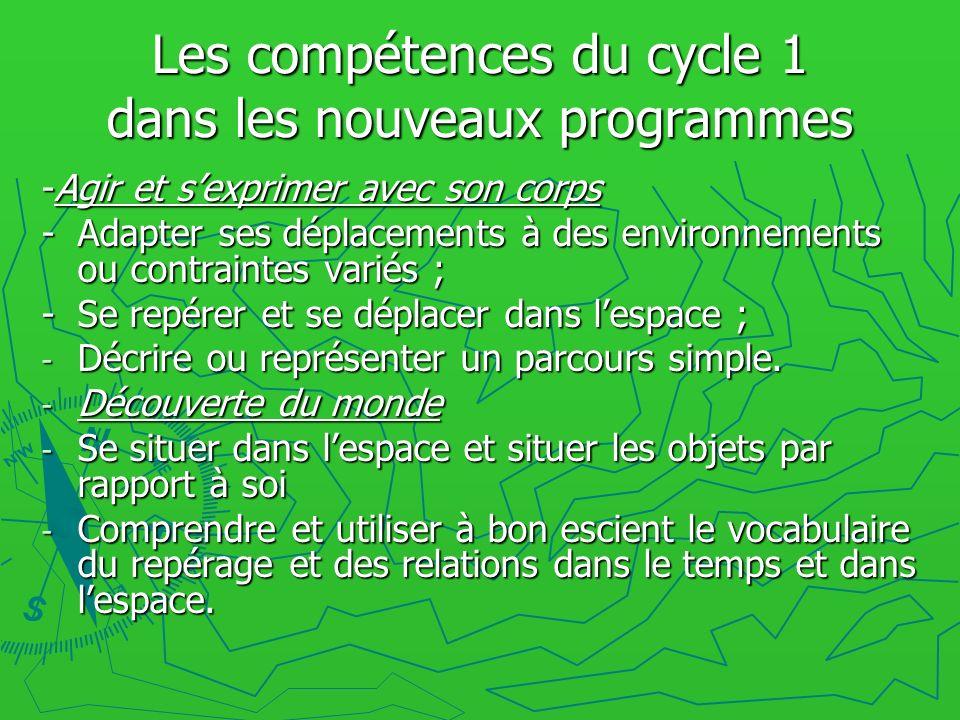 Les compétences du cycle 1 dans les nouveaux programmes -Agir et sexprimer avec son corps - Adapter ses déplacements à des environnements ou contraint