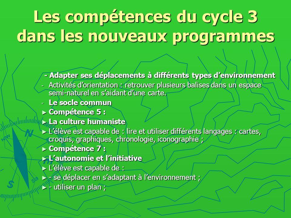 Les compétences du cycle 3 dans les nouveaux programmes - Adapter ses déplacements à différents types denvironnement - Activités dorientation : retrou
