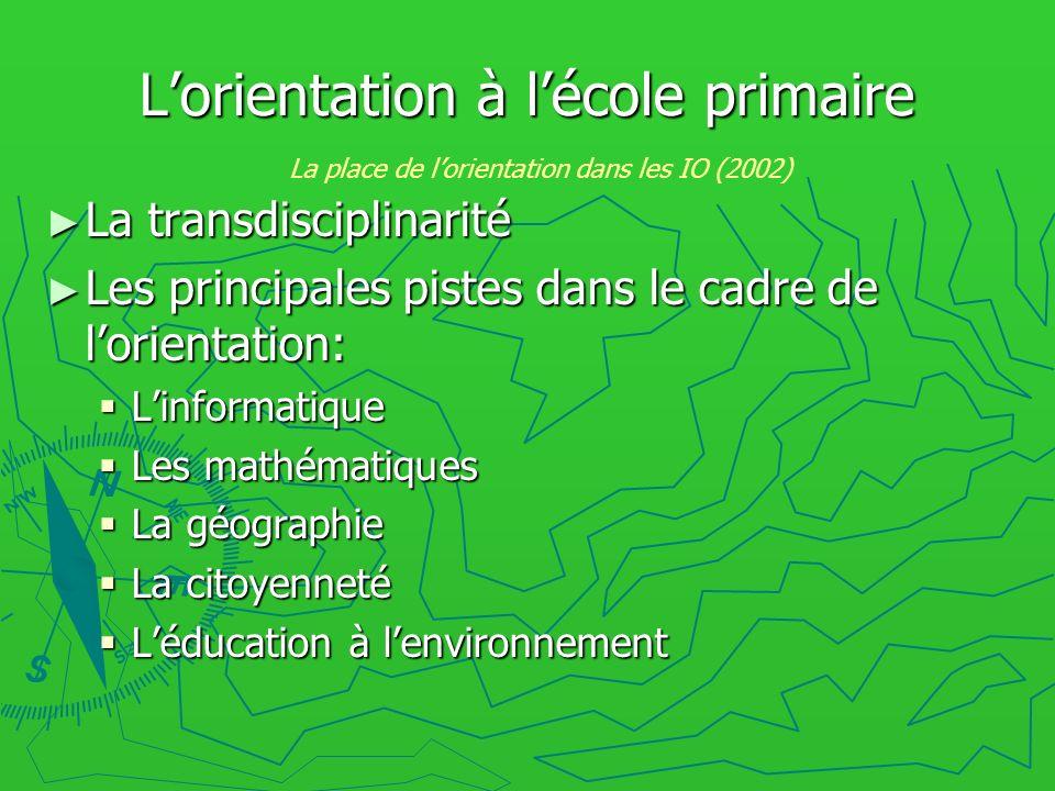 Lorientation à lécole primaire La transdisciplinarité La transdisciplinarité Les principales pistes dans le cadre de lorientation: Les principales pis