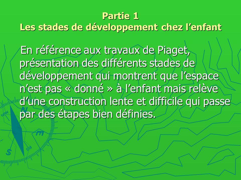 Partie 1 Les stades de développement chez lenfant En référence aux travaux de Piaget, présentation des différents stades de développement qui montrent