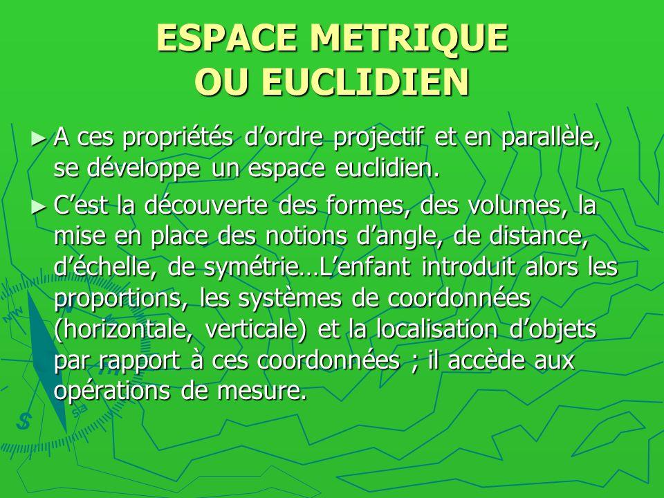 ESPACE METRIQUE OU EUCLIDIEN A ces propriétés dordre projectif et en parallèle, se développe un espace euclidien. A ces propriétés dordre projectif et
