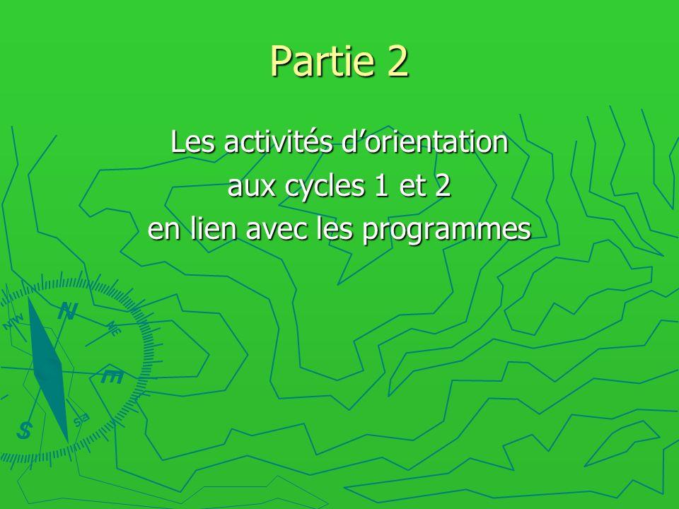 Partie 2 Les activités dorientation aux cycles 1 et 2 en lien avec les programmes