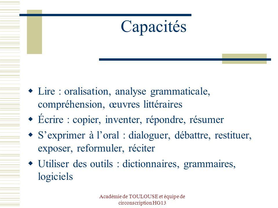 Académie de TOULOUSE et équipe de circonscription HG13 Capacités Lire : oralisation, analyse grammaticale, compréhension, œuvres littéraires Écrire :