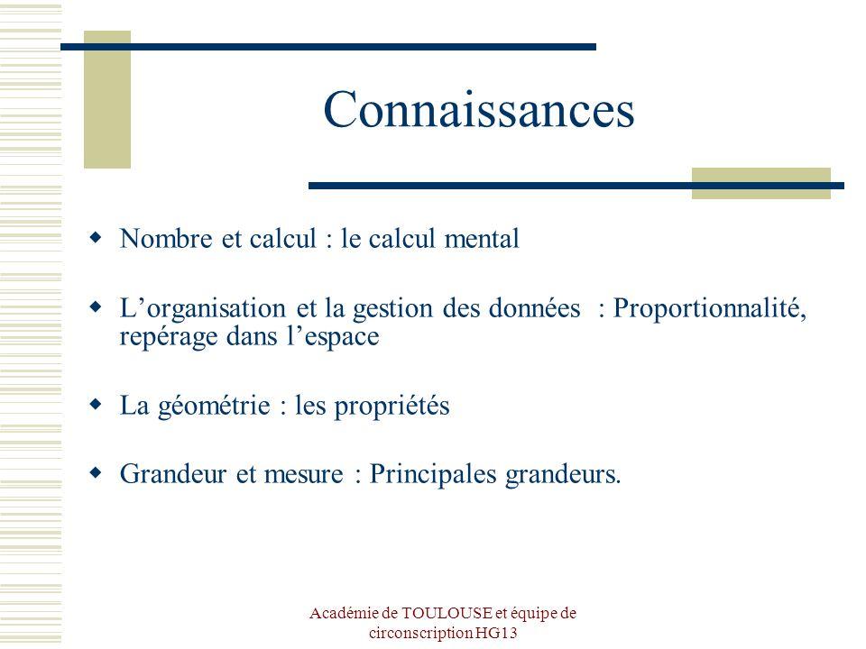 Académie de TOULOUSE et équipe de circonscription HG13 Connaissances Nombre et calcul : le calcul mental Lorganisation et la gestion des données : Pro