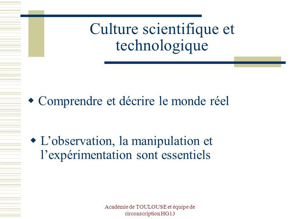 Académie de TOULOUSE et équipe de circonscription HG13 Culture scientifique et technologique Comprendre et décrire le monde réel Lobservation, la mani