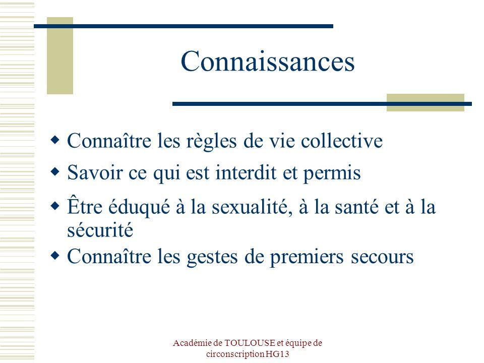 Académie de TOULOUSE et équipe de circonscription HG13 Connaissances Connaître les règles de vie collective Savoir ce qui est interdit et permis Être