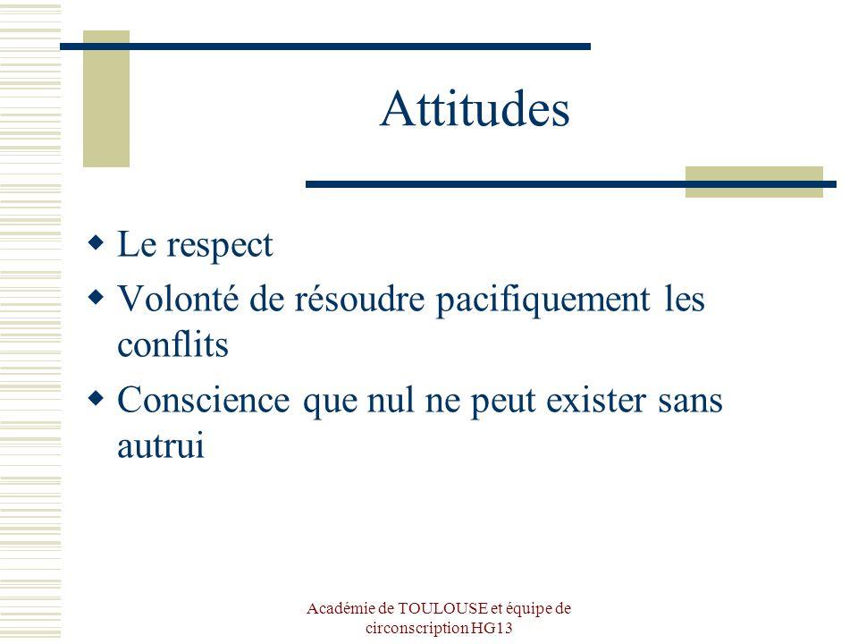 Académie de TOULOUSE et équipe de circonscription HG13 Attitudes Le respect Volonté de résoudre pacifiquement les conflits Conscience que nul ne peut