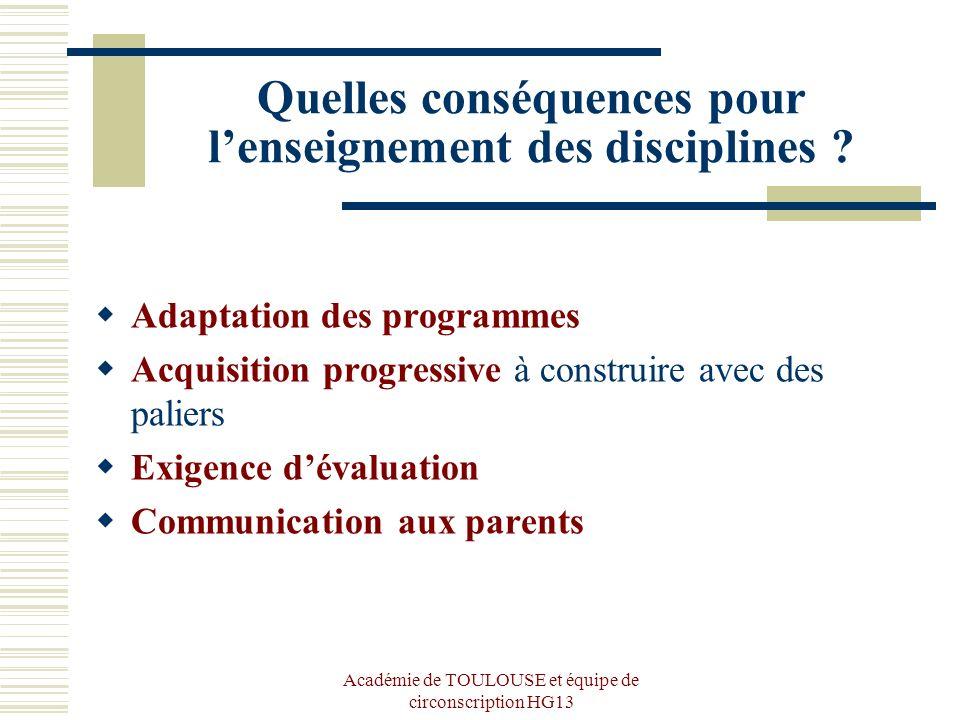 Académie de TOULOUSE et équipe de circonscription HG13 Quelles conséquences pour lenseignement des disciplines ? Adaptation des programmes Acquisition