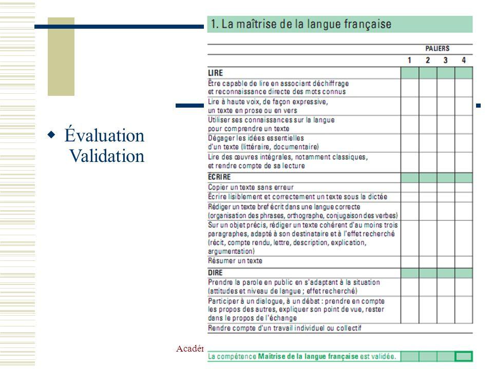 Académie de TOULOUSE et équipe de circonscription HG13 Évaluation Validation