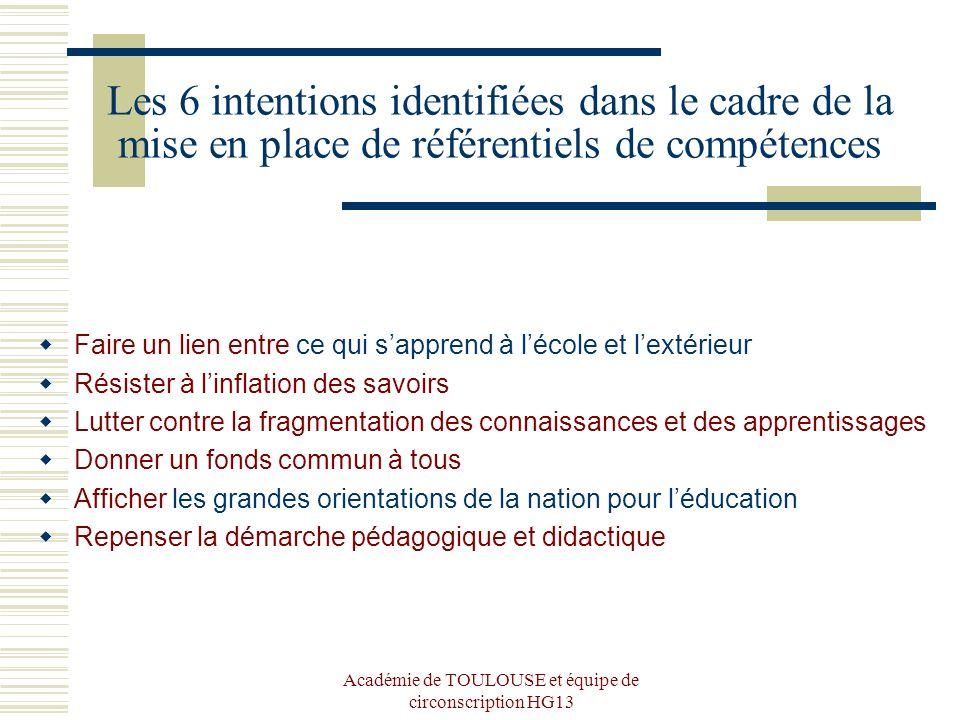 Académie de TOULOUSE et équipe de circonscription HG13 Les 6 intentions identifiées dans le cadre de la mise en place de référentiels de compétences F