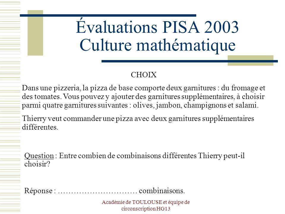 Académie de TOULOUSE et équipe de circonscription HG13 Évaluations PISA 2003 Culture mathématique CHOIX Dans une pizzeria, la pizza de base comporte d