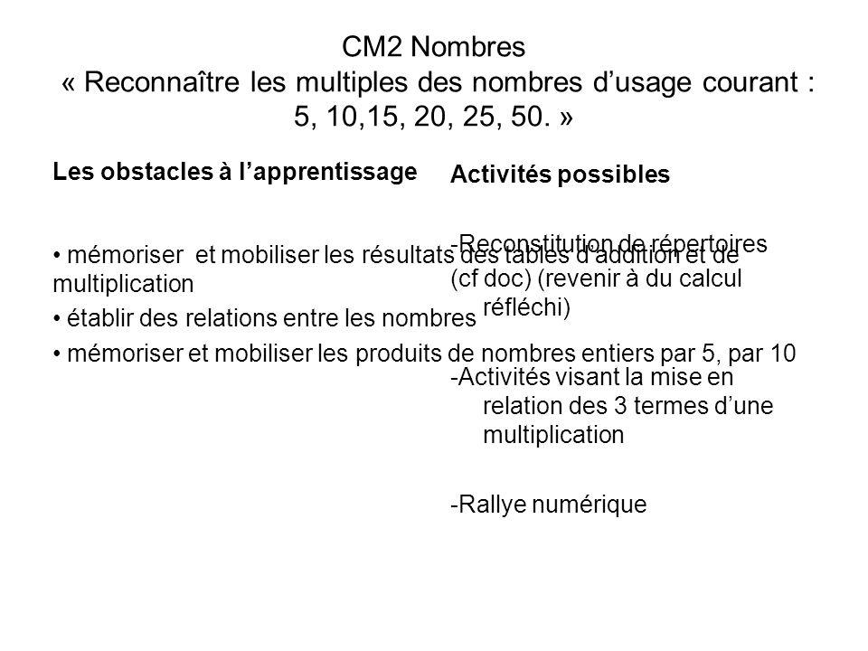 CM2 Nombres « Reconnaître les multiples des nombres dusage courant : 5, 10,15, 20, 25, 50. » Les obstacles à lapprentissage mémoriser et mobiliser les