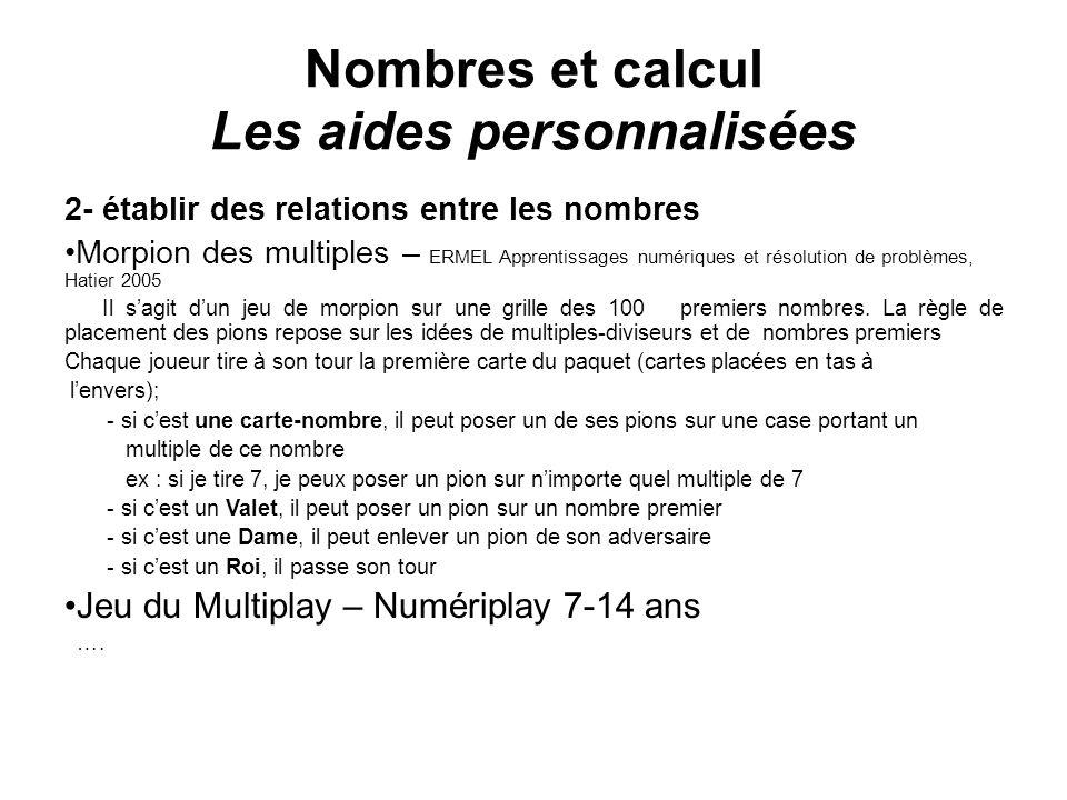 Nombres et calcul Les aides personnalisées 2- établir des relations entre les nombres Morpion des multiples – ERMEL Apprentissages numériques et résol