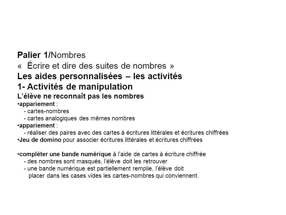 Palier 1/Nombres « Écrire et dire des suites de nombres » Les aides personnalisées – les activités 1- Activités de manipulation Lélève ne reconnaît pa