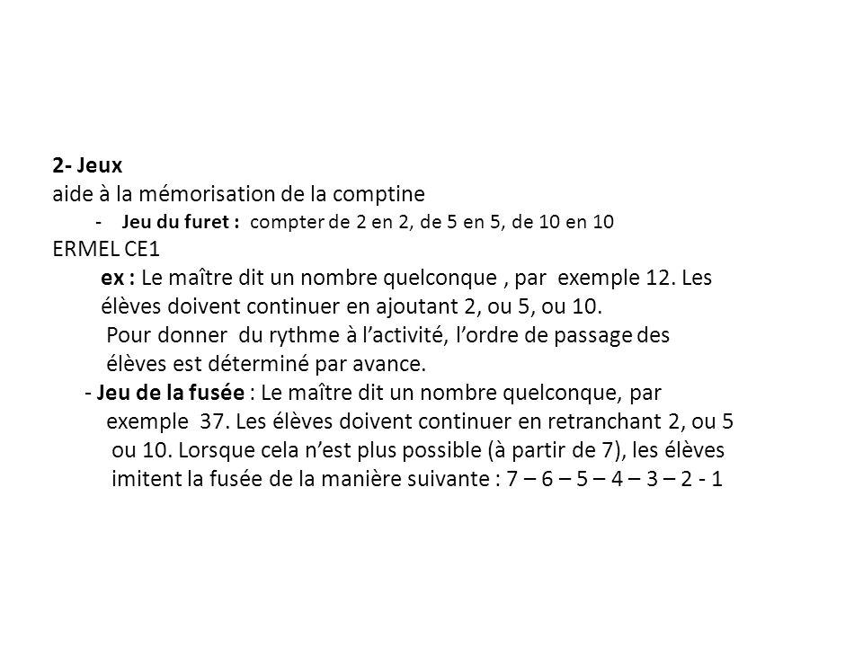 2- Jeux aide à la mémorisation de la comptine -Jeu du furet : compter de 2 en 2, de 5 en 5, de 10 en 10 ERMEL CE1 ex : Le maître dit un nombre quelcon