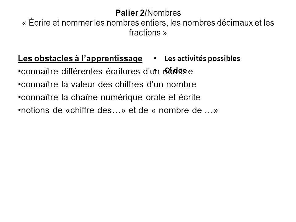 Palier 2/Nombres « Écrire et nommer les nombres entiers, les nombres décimaux et les fractions » Les obstacles à lapprentissage connaître différentes