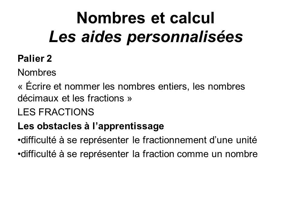 Palier 2 Nombres « Écrire et nommer les nombres entiers, les nombres décimaux et les fractions » LES FRACTIONS Les obstacles à lapprentissage difficul