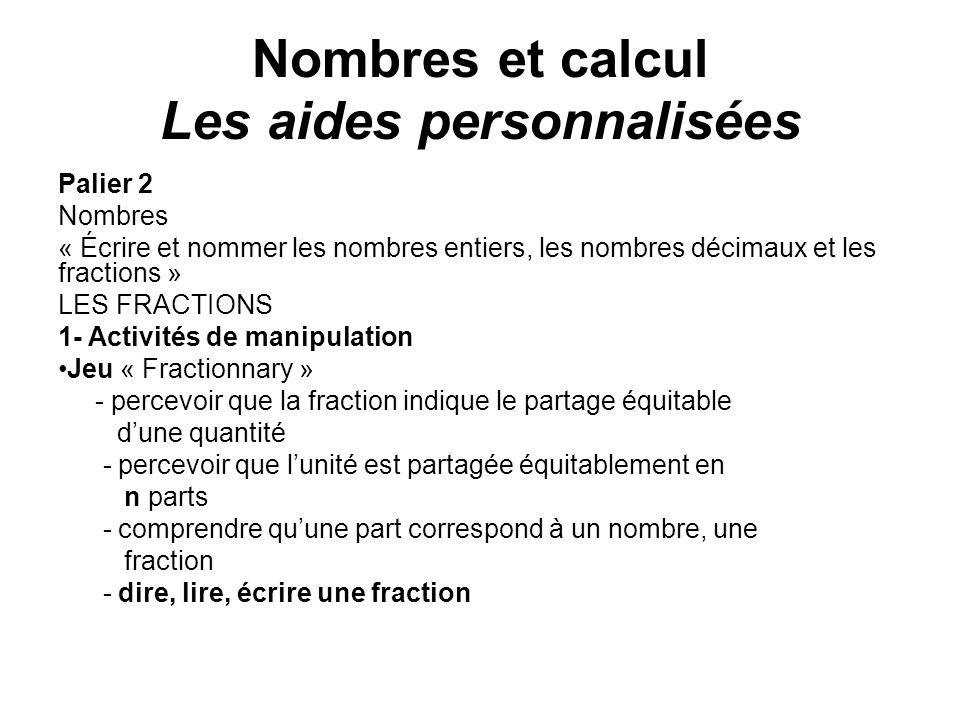 Palier 2 Nombres « Écrire et nommer les nombres entiers, les nombres décimaux et les fractions » LES FRACTIONS 1- Activités de manipulation Jeu « Frac